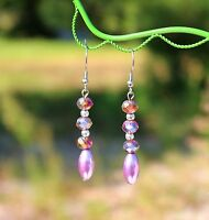 Purple AB crystals faux pearl beaded dangle silver tone pierced   EARRINGS