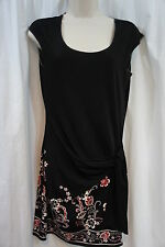 Studio M Dress Sz XS Black Red Multi Paisley Semi Sheer Jersey Dress