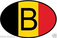 B BELGIUM COUNTRY CODE OVAL WITH BELGIAN FLAG STICKER