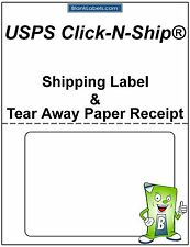 200 - USPS Click-N-Ship with Tear Off Receipt.  Half Sheet Label / Receipt Paper