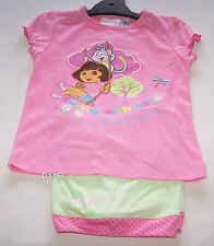 Dora The Explorer Girls Pink Green Printed Pyjama Set Size 4 New