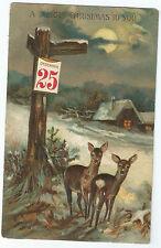 Deer EAS Christmas December 25th Cabin Emb Postcard