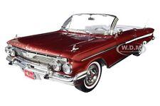 1961 CHEVROLET IMPALA OPEN CONVERTIBLE MAROON 1/18 DIECAST CAR BY SUNSTAR 3410