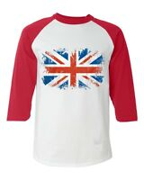 Union Jack British Flag Baseball Raglan T-shirt United Kingdom Flag UK Shirts