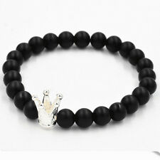 Natural Stone Bracelet Black Volcanic Lava Beads and King Crown Accessory