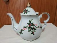 Vintage Lefton China Christmas Holly + Berry Coffee Tea Pot 03026 with Lid
