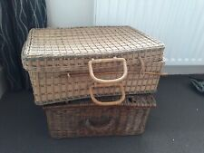 wicker basket with lid, probably 1960s
