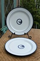 "Dansk Flora (2) DINNER PLATES Blue & White 10 5/8"" Japan"