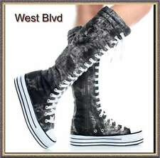 Womens Sneaker Knee High Lace Up Boots,6.5 B(M) US,Graffiti Canvas, ORIGINAL DW