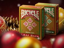 Bicycle Golden Leaf Back Holiday Deck Playing Cards wood box Set 1 Green & 1 Red