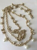 NWT J Crew Women's Long crystal-and-pearl necklace