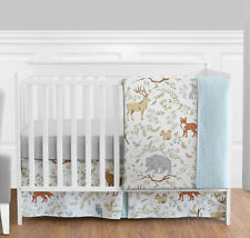Sweet Jojo Bumperless Blue Grey Forest Animal Baby Girl Boy 4pc Crib Bedding Set