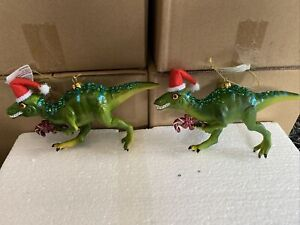 2 x 19cm Glass Dinosaur Candy Cane, Christmas Tree Hanging Novelty Ornaments -G