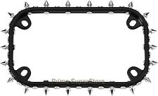 Black Metal Motorcycle License Plate Frame with abs Chrome Spikes 1 Tag Cover
