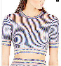 "$208 BCBG CORAL REEF COM ""KAYLA"" 3/4 SLEEVE STRIPED JACQUARD CROPPED TOP NWT M"