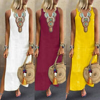 Women Summer Paisley Print V Neck Sleeveless Split Maxi Linen Loose Kaftan Dress