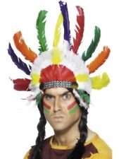 INDIAN HEADDRESS MENS LADIES WILD WEST NATIVE INDIAN BRAVE HEAD PIECE FANCY DRES