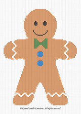 Crochet Patterns -  GINGERBREAD BOY Graph/Chart Afghan PATTERN