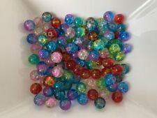 100 Glasperlen 2 TON Crackle MIX 8 mm 100 Stück Schmuck Basteln Perlen V209