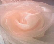 A34 (Per Meter) Pale Pink Crystal Mirror Organza Darpping Sheer Fabric Material
