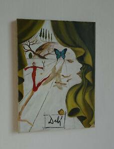 Fine unique Surrealist Surreal landscape painting, signed Salvador Dali w COA