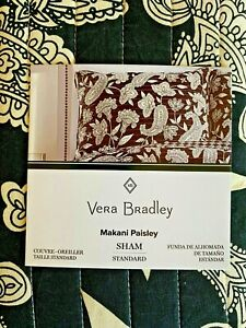 "Vera Bradley ""Makani Paisley"" One Black & Ivory Standard Pillow Sham ~ NIP"