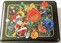 Swiss Colony Rectangular Tin Christmas Santa Mouse Ornaments Tree Empty