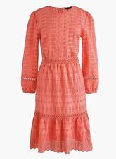 J. Crew Eyelet Linen Flutter-hem Dress Coral Style H5958 Cotton A-line MSRP:$128