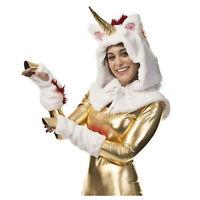 White Gold Unicorn W/ Horn Halloween Costume Accessory Kit Hood Hoof Gloves
