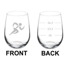 Wine Glass White Red Stemless 17oz 2 Sided Runner Fill Lines 26.2 13.1 5K