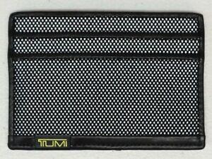 Tumi Brand Wallet Slim Card Case ID Window Black Leather Textured NWT NEW $50