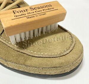 Nylon Bristles Suede Nubuck Brush Wood Handle Shoe Boot Bag Nap Cleaning Washing