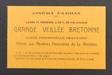 Carte d'invitation Cinéma FAMILIA Grande veillée bretonne Niort