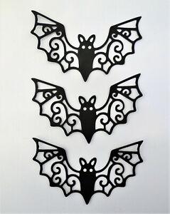 Halloween Bat Bats Intricate Silhouette Die Cut Scrapbook Embellishment 3pc
