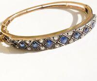 Pracht Armreif mit Saphiren und Diamanten Anfang 20 Jh. Silber Gold ...grandios