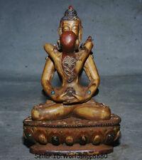 "6.4"" Old Tibet Buddhism Temple Bone Shakyamuni Amitabha Buddha Yab-Yum Statue"