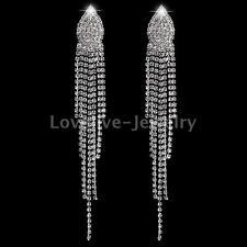 Wedding Prom Diamante Crystal Rhinestone Silver Tassel Long Dangle Drop Earrings