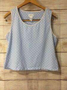 Liz Claiborne Sleep Shirt Cropped Tank Top Sleepwear Blue Polka Dot Large