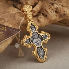 The guardian angel silver orthodox cross pendant 925 gold plated gold 999 NWT