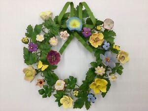RARE Vtg Petites Choses Floral Butterfly Painted Brass Wreath Porcelain Bisque