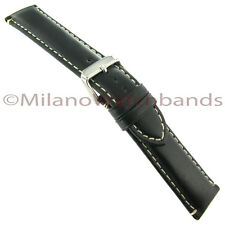 22mm Hadley Roma Black Oil-tan Heavy Pad Leather Contrast Stitch Watch Band 885