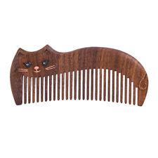 Tan Mujiang Wooden Hair Comb Fine Tooth Handmade Anti static Lazy Princess Cat