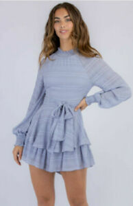 Women's Grey/Blue Double Layered Striped Shirred Neckline Short Romper Size 6/XS