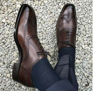 New Pure Handmade Brown Shaded Leather Lace up Brogue Shoes, Men's Dress Shoes