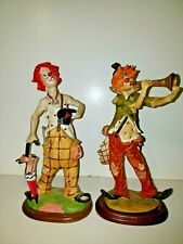 """Lot of 2 Vintage Male Top Hat Trumpet Acrylic Clown Dolls Figurines 12"""" Tall"""
