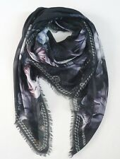 NWOT Authentic ALEXANDER McQUEEN FLORAL & CHAIN Print Oversized Scarf Shawl