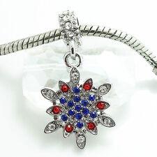1P Silver  Snowflake European Charms Bead Fit Pendant Bracelet&Necklace  SH158