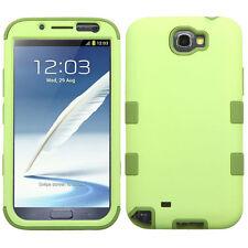 For Samsung Galaxy Note II 2 IMPACT TUFF HYBRID Case Skin Cover Green Tea Olive