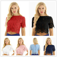 Fashion Women Summer Lace Crop Top Short Sleeve Blouse T-shirt Casual Tank Tops