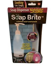 Soap Brite Lighted Dispenser Nightlight 7 Soothing Colors Motion Activated